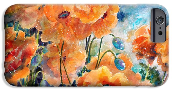 Flora Mixed Media iPhone Cases - September Orange Poppies            iPhone Case by Kathy Braud