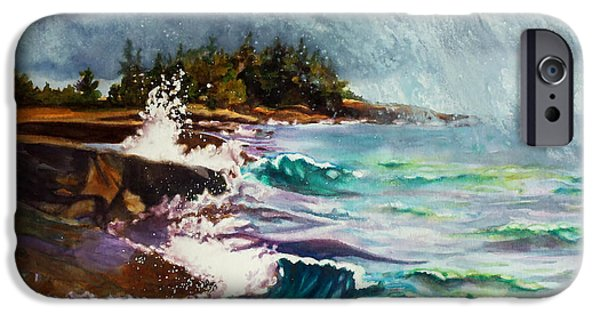 Dark Energy Paintings iPhone Cases - September Storm Lake Superior iPhone Case by Kathy Braud