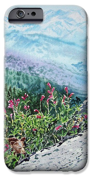 Cold Paintings iPhone Cases - Sequoia National Park iPhone Case by Irina Sztukowski