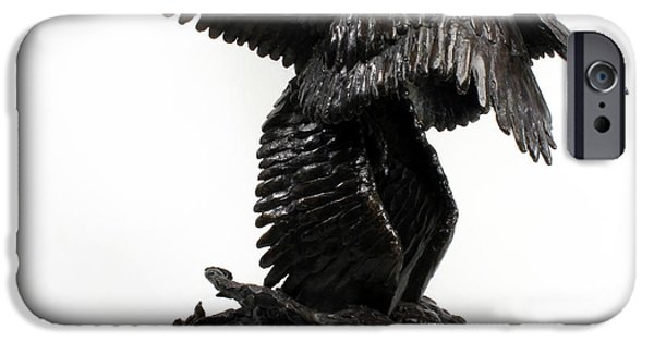 Seraphim Angel Sculptures iPhone Cases - Seraph Angel a religious bronze sculpture by Adam Long iPhone Case by Adam Long