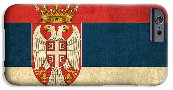 Serbia iPhone Cases - Serbia Flag Vintage Distressed Finish iPhone Case by Design Turnpike