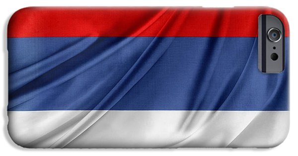 Textile Photographs iPhone Cases - Serbian flag iPhone Case by Les Cunliffe