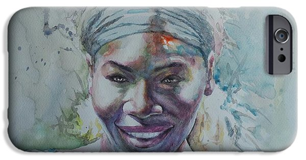 French Open Paintings iPhone Cases - Serena Williams - Portrait 1 iPhone Case by Baresh Kebar - Kibar