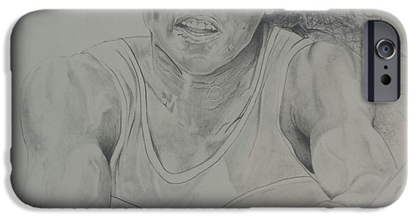 Us Open Drawings iPhone Cases - Serena Williams iPhone Case by DMo Herr