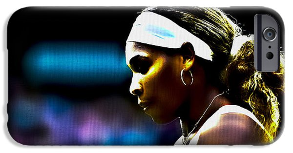Wta Digital Art iPhone Cases - Serena Williams Focus iPhone Case by Brian Reaves