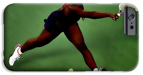 Us Open Mixed Media iPhone Cases - Serena Williams on Point iPhone Case by Brian Reaves
