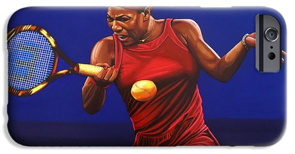 Sports Paintings iPhone Cases - Serena Williams painting iPhone Case by Paul  Meijering