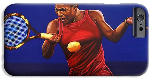 Idol Paintings iPhone Cases - Serena Williams painting iPhone Case by Paul  Meijering