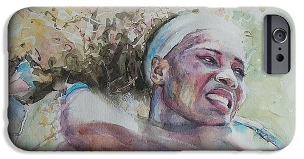 French Open Paintings iPhone Cases - Serena Williams - Portrait 2 iPhone Case by Baresh Kebar - Kibar