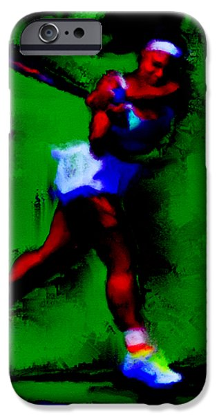Wta iPhone Cases - Serena Williams Powerful Return iPhone Case by Brian Reaves