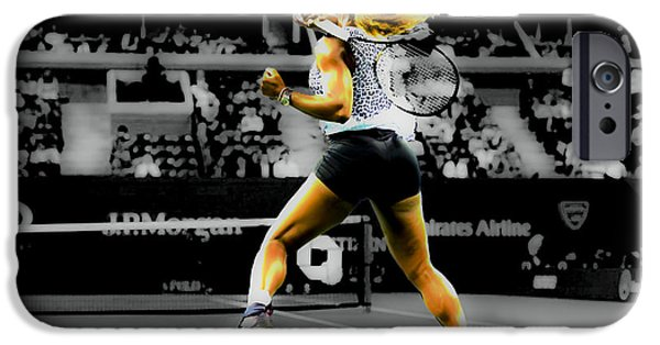 Wta Digital Art iPhone Cases - Serena Williams Return iPhone Case by Brian Reaves
