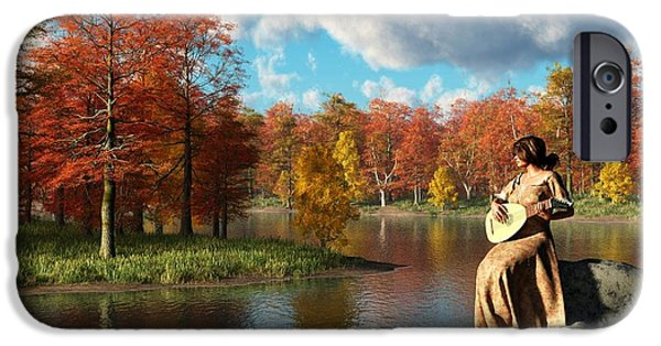 Lute Digital Art iPhone Cases - Serenading The Fall iPhone Case by Daniel Eskridge