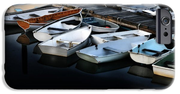Skiff iPhone Cases - Serene Harbor Downeast Maine iPhone Case by Thomas Schoeller
