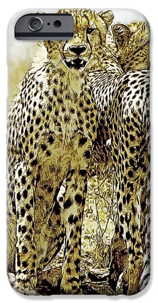 Cheetah Digital Art iPhone Cases - Serengeti Cheetahs 2 iPhone Case by Larry Linton