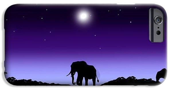Elephants iPhone Cases - Serengeti Daybreak  iPhone Case by Peter Stevenson