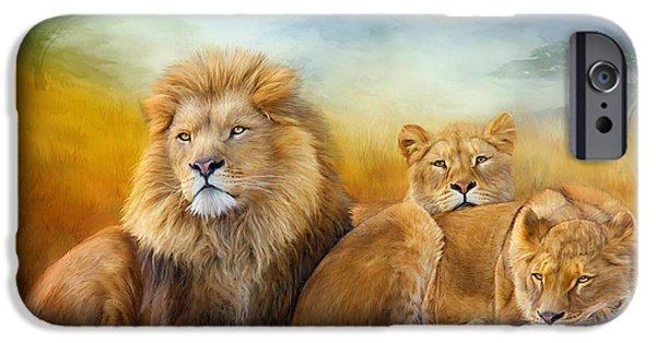 African Lion Art iPhone Cases - Serengeti Pride iPhone Case by Carol Cavalaris