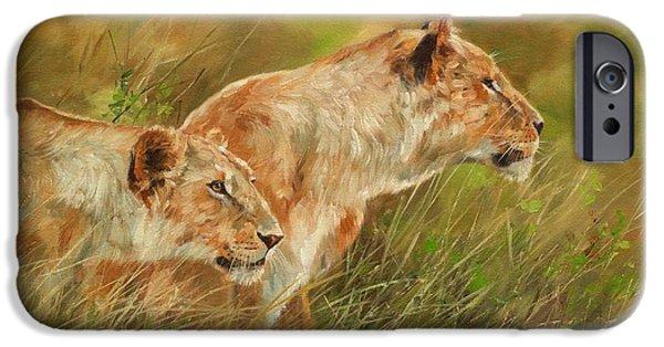 Sisters Paintings iPhone Cases - Serengeti Sisters iPhone Case by David Stribbling