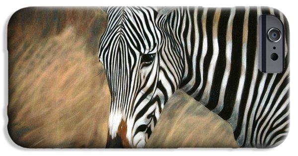 Children Pastels iPhone Cases - Serengeti Zebra iPhone Case by Carol McCarty
