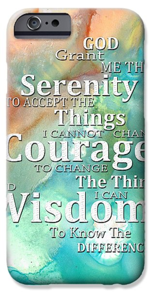 Courage iPhone Cases - Serenity Prayer 1 - By Sharon Cummings iPhone Case by Sharon Cummings