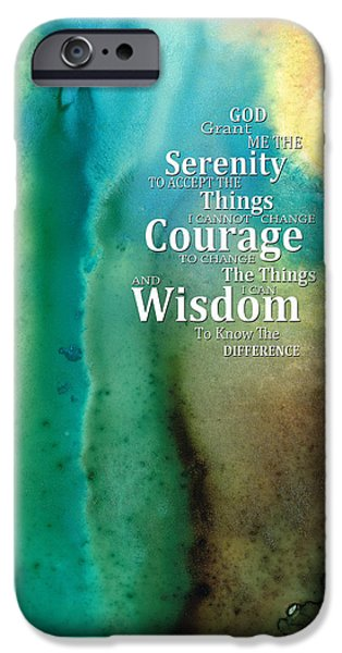 Courage iPhone Cases - Serenity Prayer 2 - By Sharon Cummings iPhone Case by Sharon Cummings