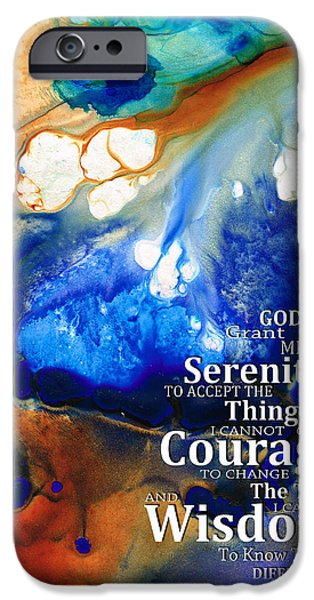 Courage iPhone Cases - Serenity Prayer 4 - By Sharon Cummings iPhone Case by Sharon Cummings