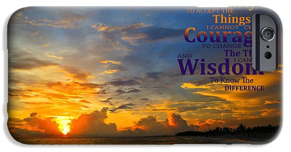Courage iPhone Cases - Serenity Prayer Sunset By Sharon Cummings iPhone Case by Sharon Cummings