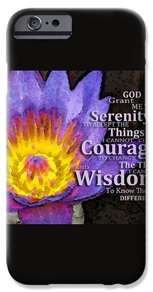 Courage iPhone Cases - Serenity Prayer With Lotus Flower By Sharon Cummings iPhone Case by Sharon Cummings