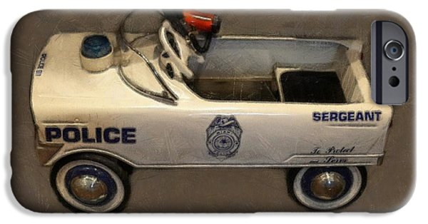 Police Car iPhone Cases - Sergeant Pedal Car iPhone Case by Michelle Calkins