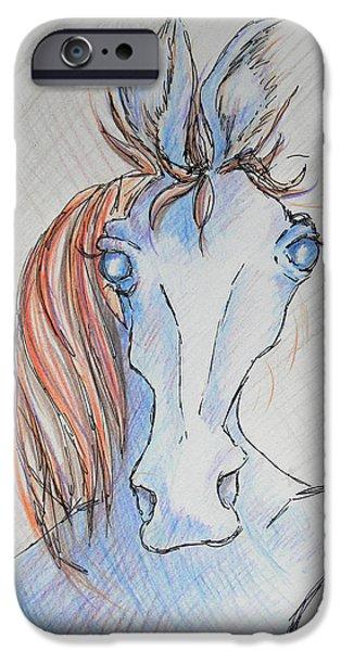 Skewed iPhone Cases - Seriously Funky Horse iPhone Case by Sheri Lauren Schmidt