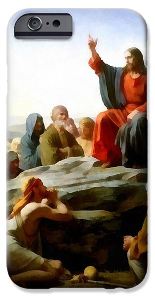 Sermon On The Mount Watercolor iPhone Case by Carl Bloch