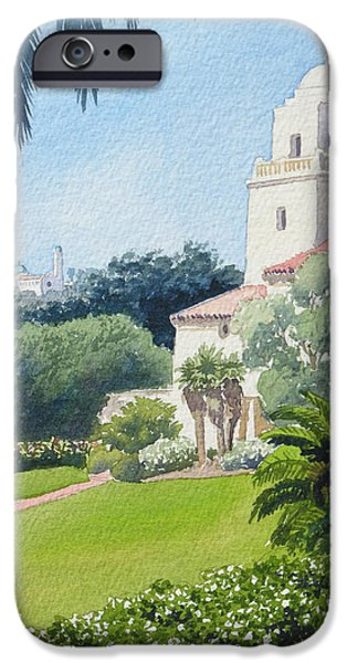 Museum Paintings iPhone Cases - Serra Museum and USD iPhone Case by Mary Helmreich