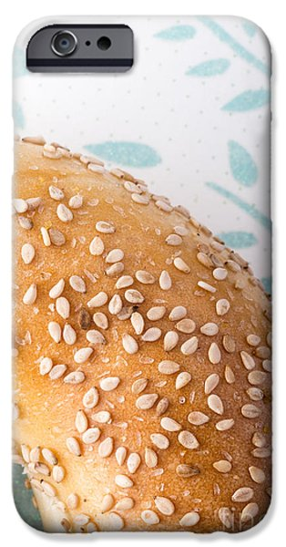 Table Cloth iPhone Cases - Sesame Bagel iPhone Case by Edward Fielding
