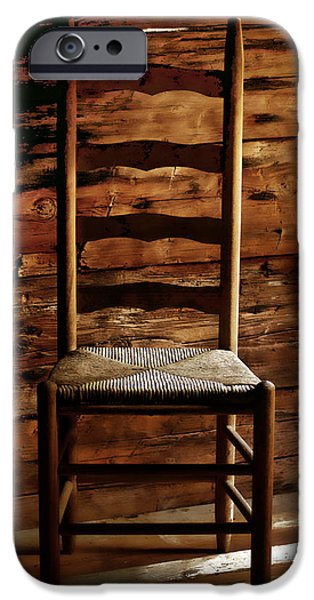 Ladder Back Chairs iPhone Cases - Set a Spell iPhone Case by Linda Mcfarland