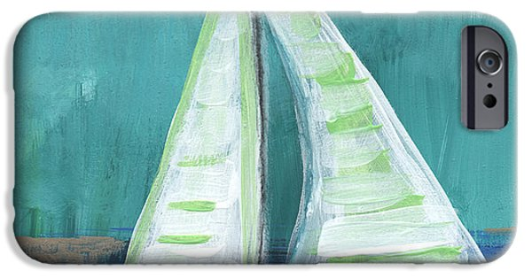 Stripes iPhone Cases - Set Free- Sailboat Painting iPhone Case by Linda Woods