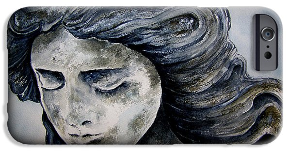 Statue Portrait Paintings iPhone Cases - Set In Stone iPhone Case by Brenda Owen