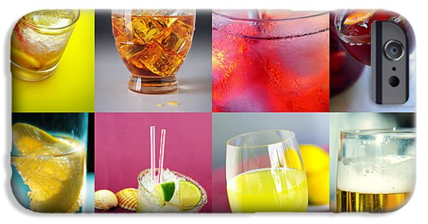 Booze iPhone Cases - Set of Drinks iPhone Case by Carlos Caetano