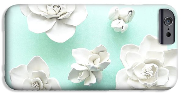 Decor Ceramics iPhone Cases - Set of five Magnolia Flowers- Magnolia Wall Sculpture iPhone Case by Lenka Kasprisin