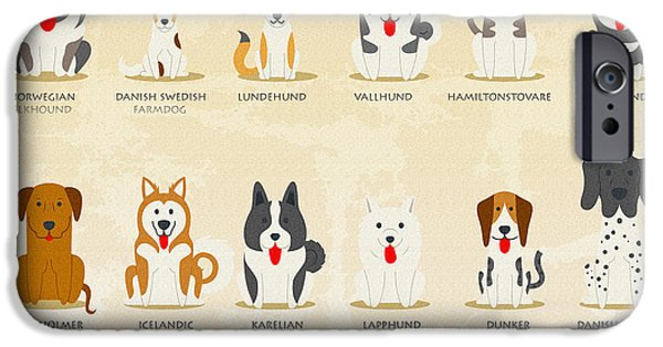 Puppy Digital Art iPhone Cases - Set of nordic dogs iPhone Case by Don Kuing