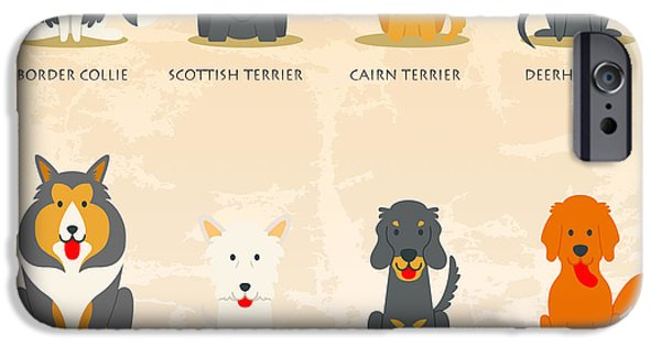 Scottish Terrier Digital Art iPhone Cases - Set of scottish dogs  iPhone Case by Don Kuing