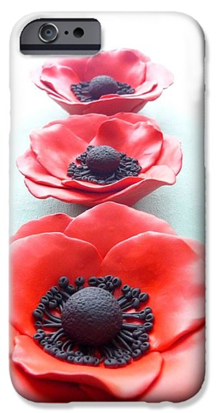 Decor Ceramics iPhone Cases - Set of three red poppy flowers iPhone Case by Lenka Kasprisin