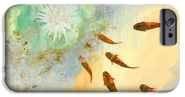 Fish Pond iPhone Cases - Sette Pesciolini Verdi iPhone Case by Guido Borelli