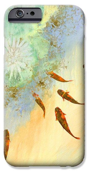 sette pesciolini verdi iPhone Case by Guido Borelli
