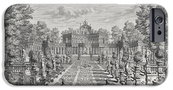 Garden Drawings iPhone Cases - Setting for an opera in a garden iPhone Case by Giuseppe Bibiena