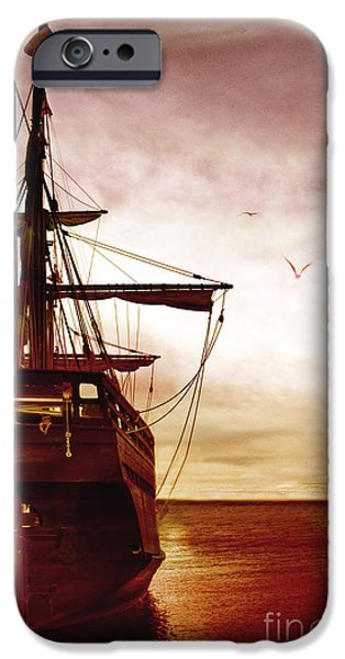 Pirate Ship iPhone Cases - Setting Sail iPhone Case by Margie Hurwich