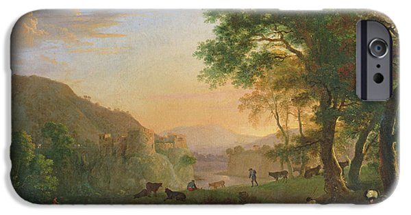 Site iPhone Cases - Setting Sun, Italy Oil On Canvas iPhone Case by Herman van Swanevelt