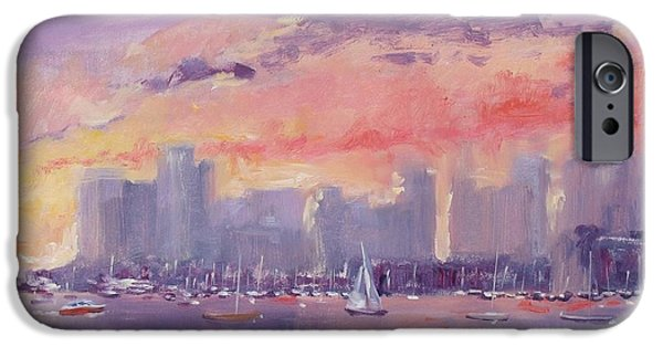 City. Boston Paintings iPhone Cases - Setting Sun over Boston  iPhone Case by Laura Lee Zanghetti