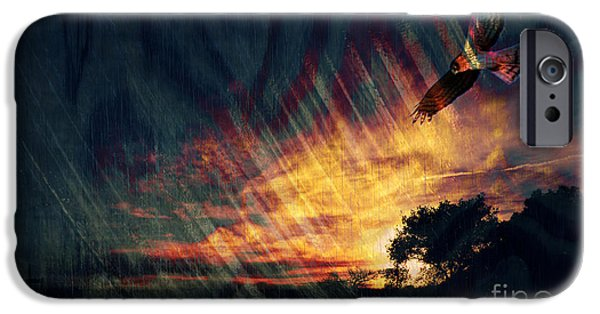 Red Tail Hawk Digital Art iPhone Cases - Setting Sun iPhone Case by Robert Ball
