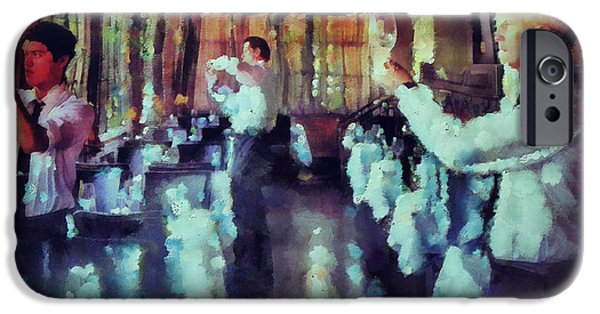 Waiter Mixed Media iPhone Cases - Setting Up For Dinner  iPhone Case by Janice MacLellan