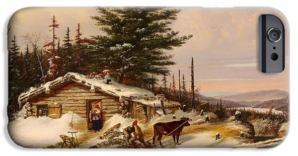 Log Cabin Art iPhone Cases - Settlers Log House iPhone Case by Cornelius Krieghoff