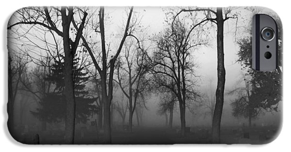 Graveyard Road iPhone Cases - Settling Fog iPhone Case by Gothicolors Donna Snyder